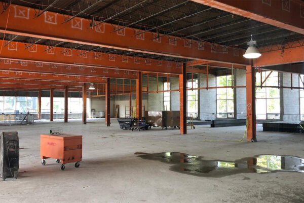 Beams are starting to in, and you can see the gorgeous light pouring into the space from Crapo Street!