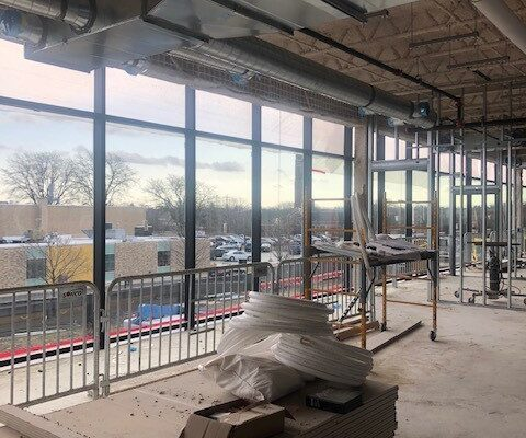 The new conference center will feature beautiful tall windows overlooking Flint Institute of Arts.