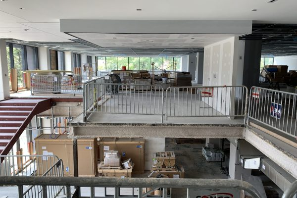 The most visually interesting conference room in the Library is starting to take shape at the top of the stairs! You can see through that room to the conference area beyond it.