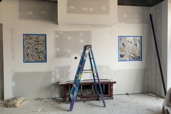 Our beloved Kline tile murals look much better now. Two of them will flank the huge aquarium going on the wall in the Children's Learning Place.