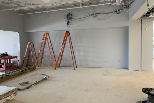You can't see them yet, but this wall will hold laptop computers that can be checked out for use inside the Library.